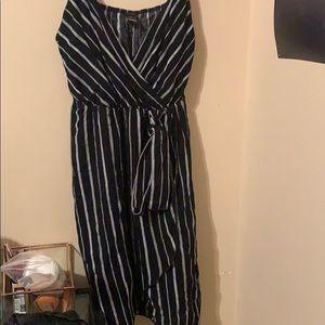 black and white striped dress v neck tank